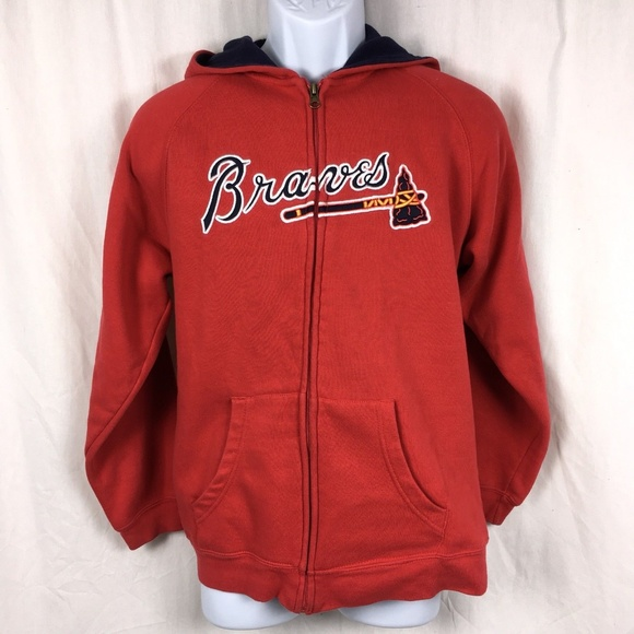meet 32d4a 79c73 Adidas MLB Atlanta Braves Youth Full Zip Hoodie